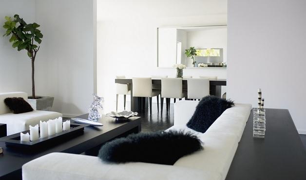 fekete-fehér, modern lakás
