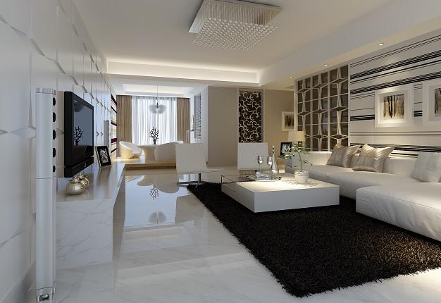 modern, fekete-fehér hálószoba