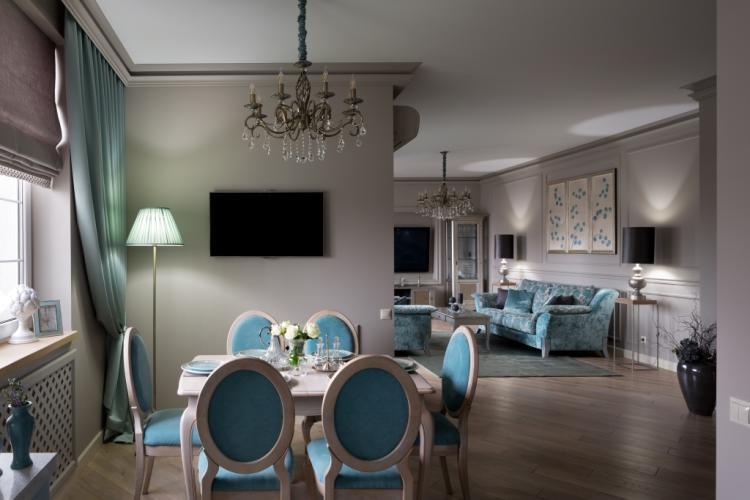 Klasszikus stílusú étkező és nappali türkiz és szürke árnyalatokkal