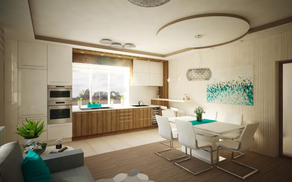 Modern nappali, étkező és konyha