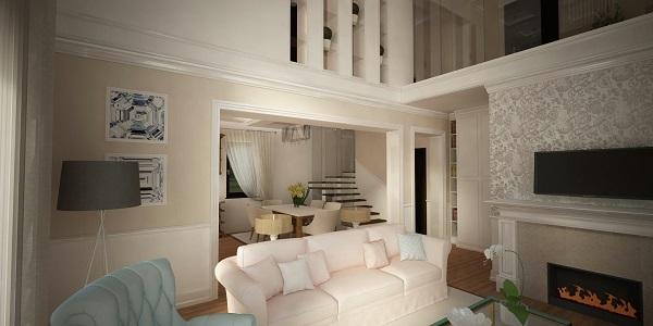 Hét Levél Tervező Iroda lakberendezési látványterv klasszikus stílusú nappali