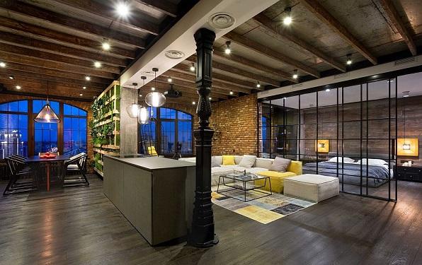 Legénylakás loft stílusban, étkező, nappali és hálószoba