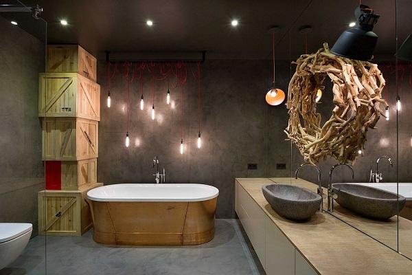 Legénylakás loft stílusban, fürdőszoba