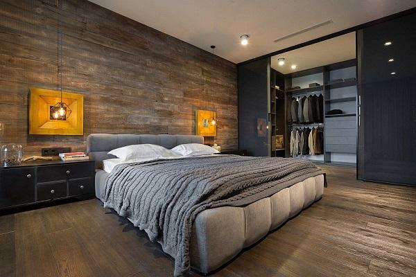 Legénylakás loft stílusban hálószoba és gardrób