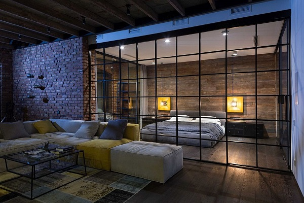Legénylakás loft stílusban nappali és hálószoba