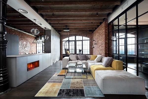 Legénylakás loft stílusban, nappali és konyha