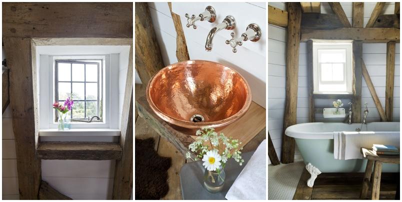 Szélmalom szállás Angliában, fürdőszoba részletek