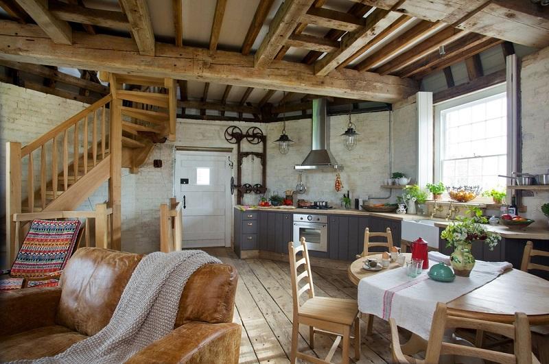 Szélmalom szállás Angliában konyha, étkező és nappali