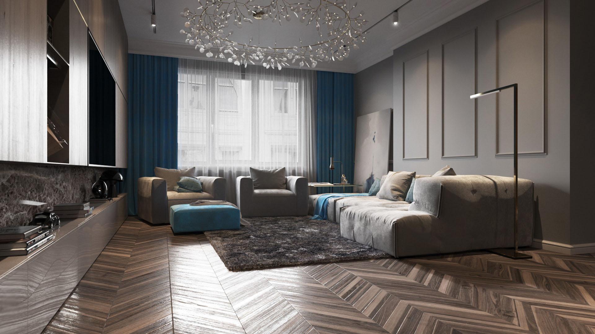 Arany és szürke nappali