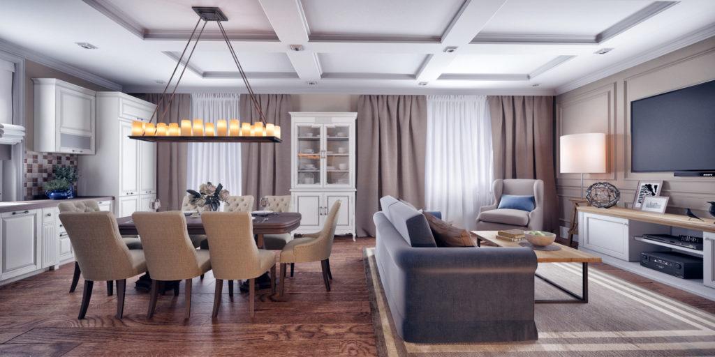 Klasszikus elegancia modern köntösben, étkező és nappali