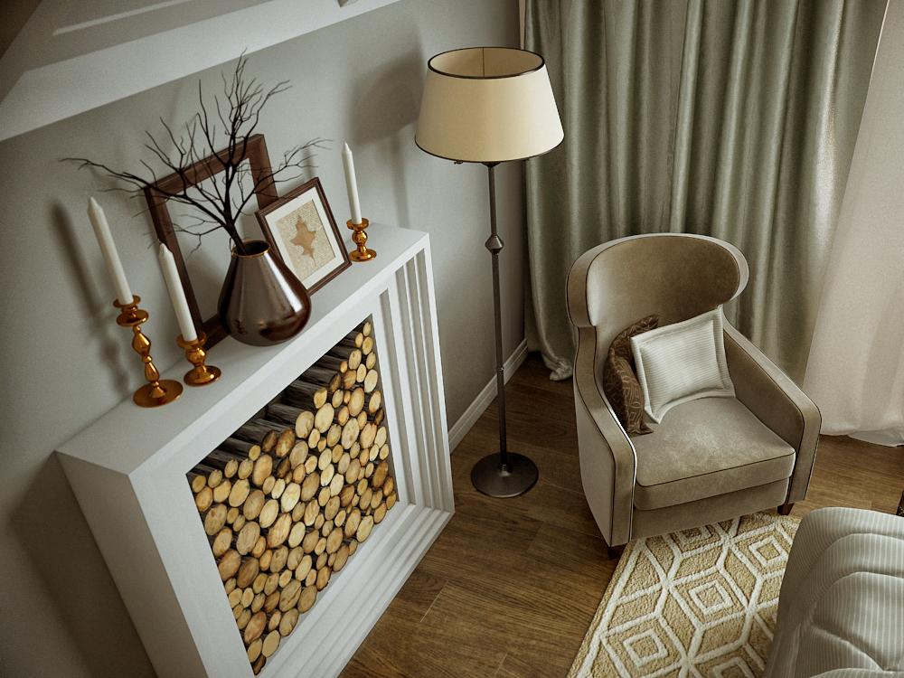 Klasszikus modern hálószoba, kandalló