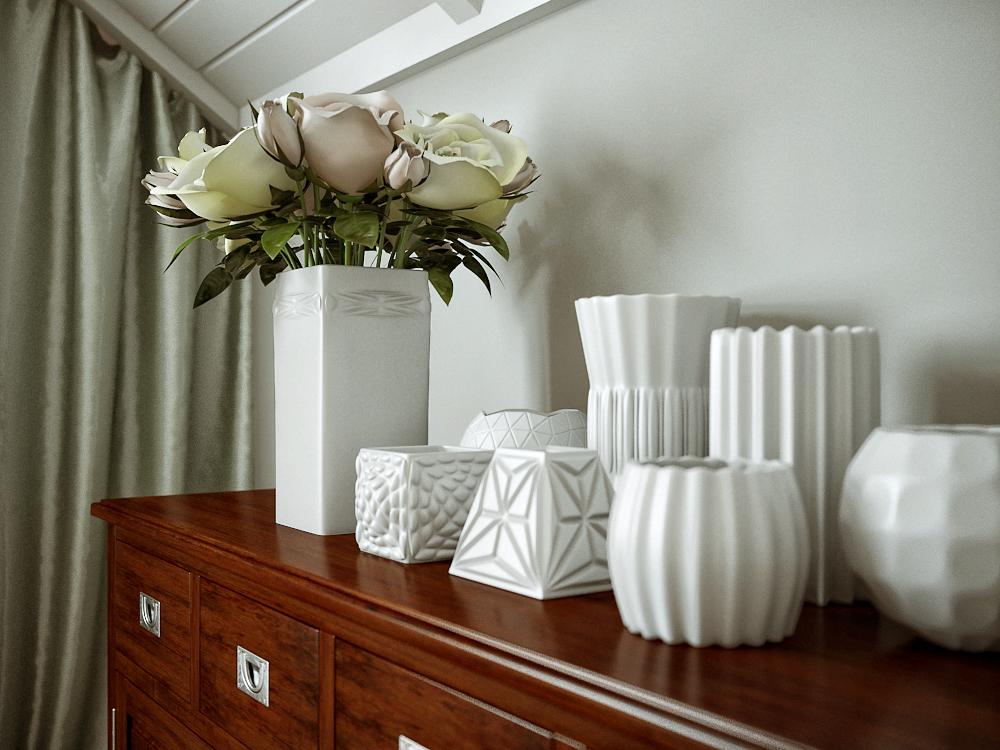 Vázák klasszikus-modernhálószobában