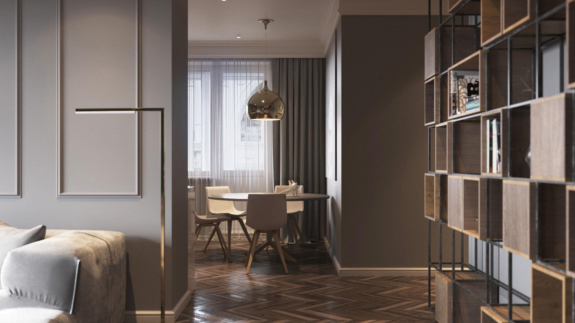 Arany és szürke lakás, rálátás az étkezőre