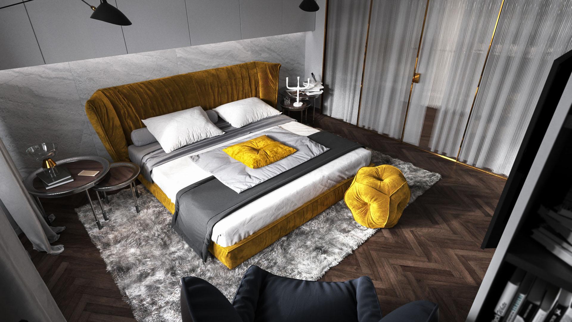 Arany és szürke hálószoba felülnézetből