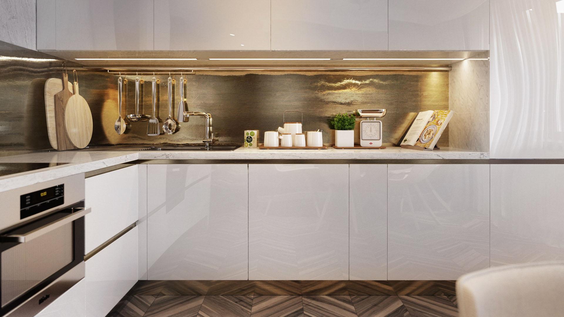 Arany és fehér konyha