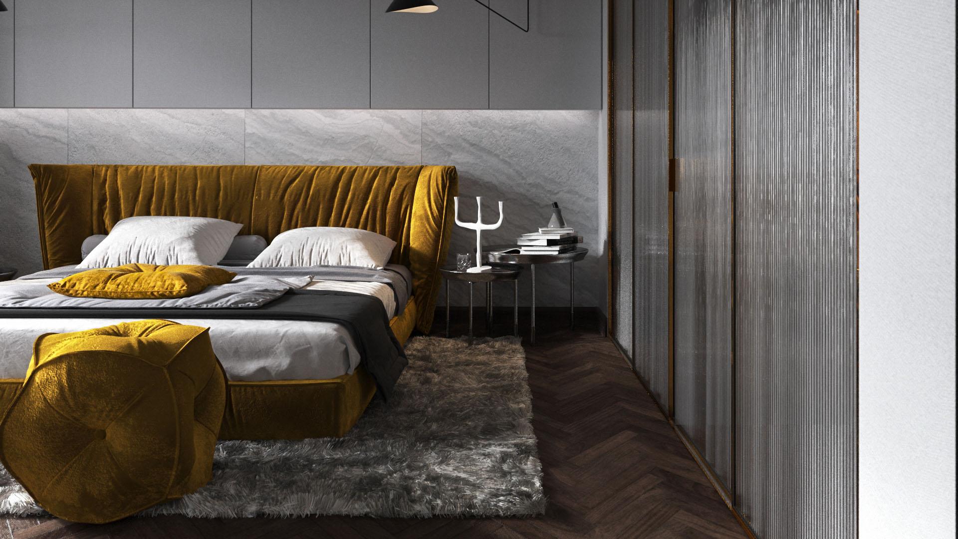 Arany és szürke hálószoba