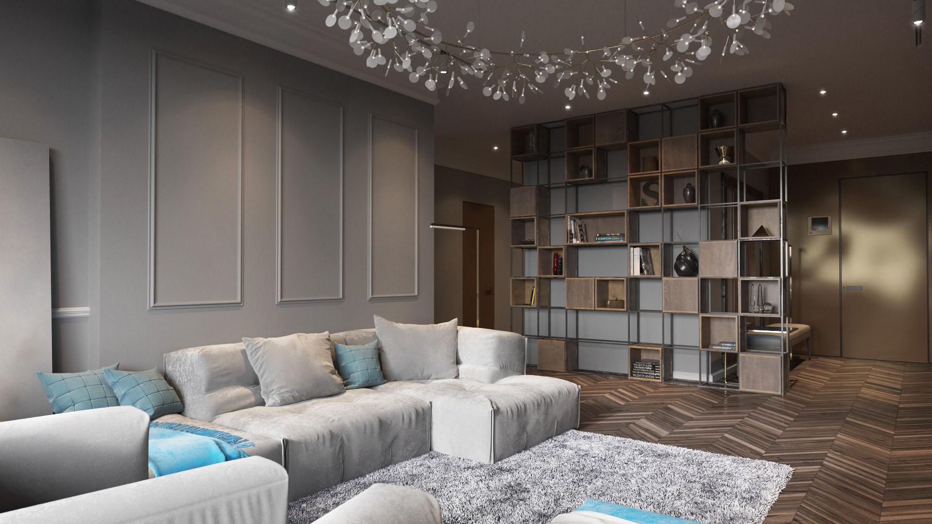 Arany és szürke nappali részlet, térelválasztó és kanapé