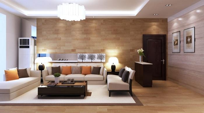 Csillár, LED és állólámpa világítás nappaliban