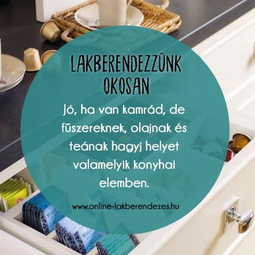 Jó, ha van kamrád, de fűszereknek, olajnak és teának hagyj helyet valamelyik konyhai elemben.
