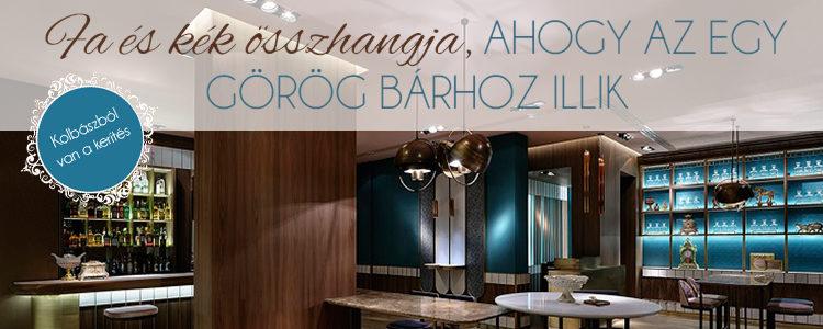 Fa és kék összhangja, ahogy az egy görög bárhoz illik