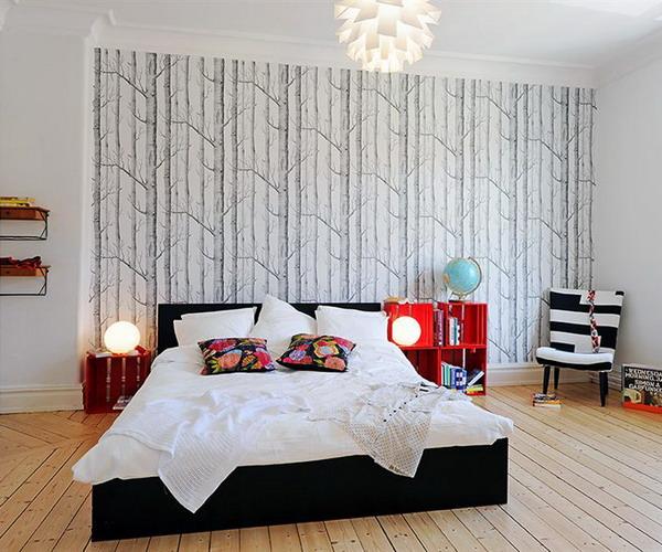 tapétázott fal hálószobában