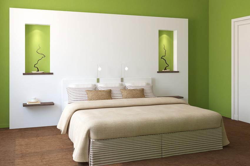 Zöld fal hálószobában