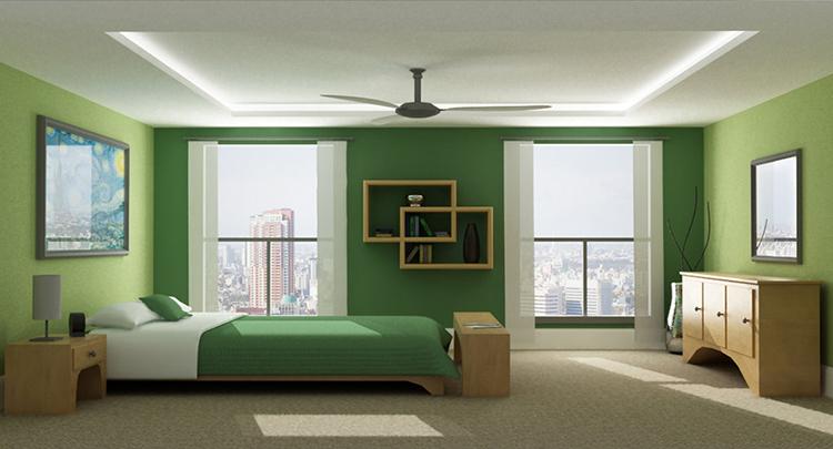 Zöld falszínek hálószobában