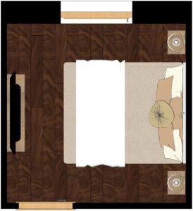Körbejárható ágy a hálószobában