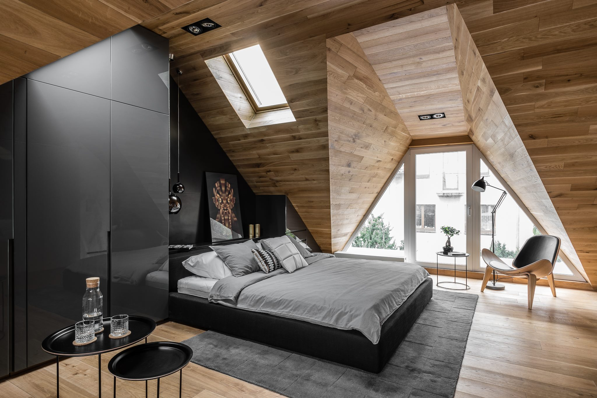 Tetőtéri férfias hálószoba