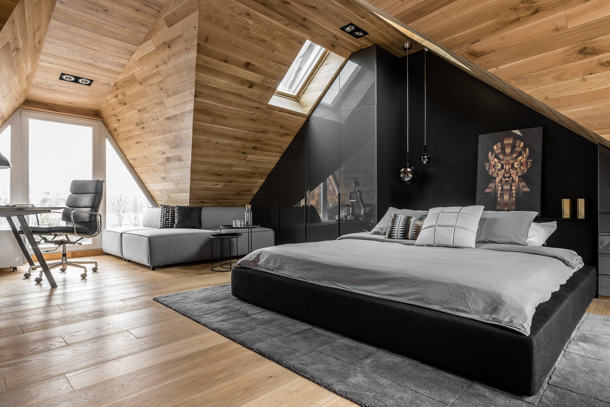 Tetőtéri maszkulin hálószoba