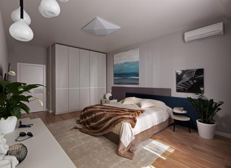 Barna-kék hálószoba