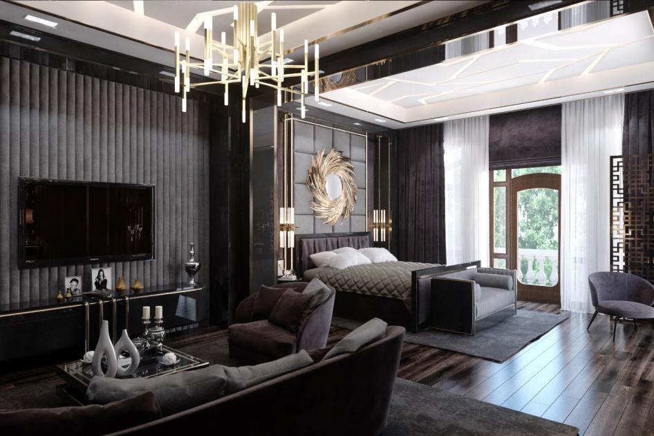 Fekete nappali és hálószoba