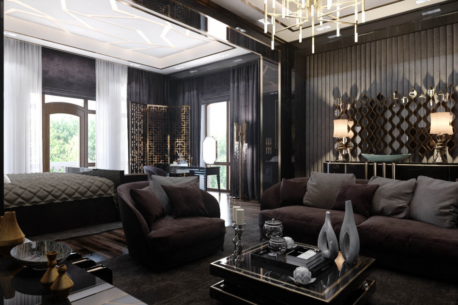 Fekete és sötét színek hálószobában